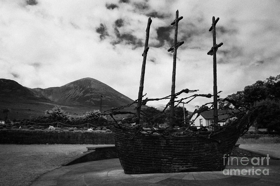 Ireland Photograph - National Famine Memorial The Skeleton Ship By John Behan Beneath Croagh Patrick Mayo by Joe Fox