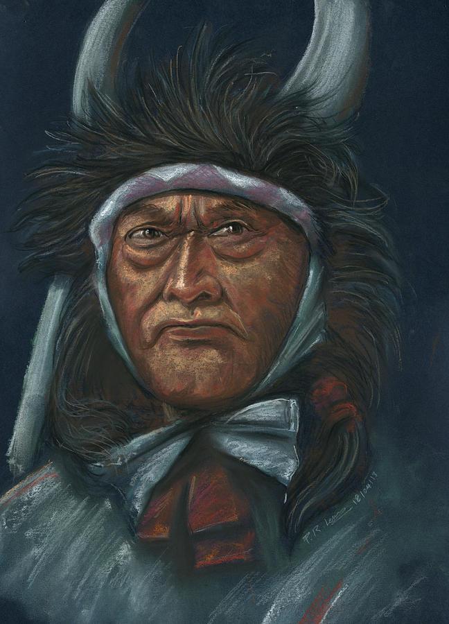 Portrait Pastel - Native-america by Prakash Leuva