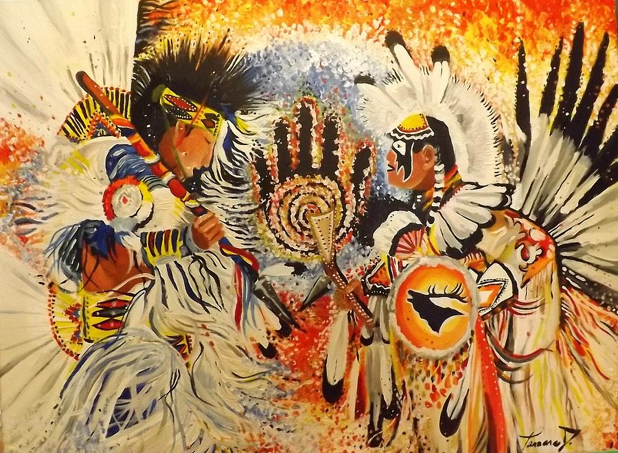 Native American Art Fire Dancers 18x24 Acrylic Canvas ...