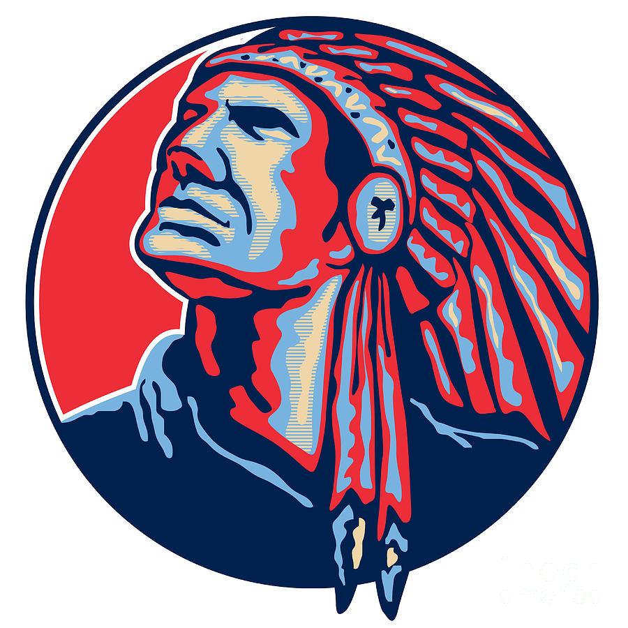 Native American Indian Chief Retro Digital Art