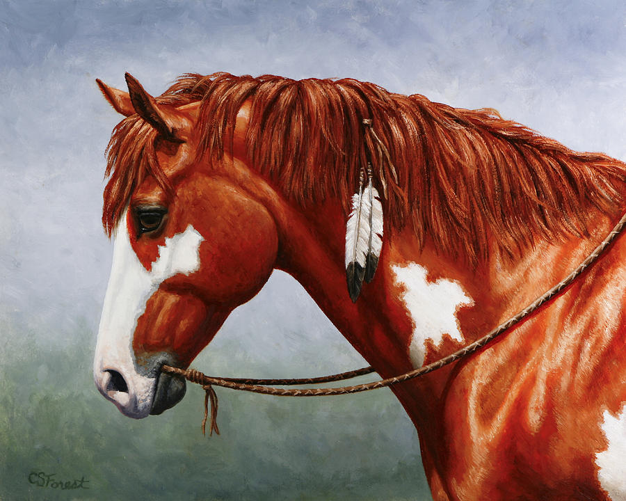 Native American Pinto Horse Painting