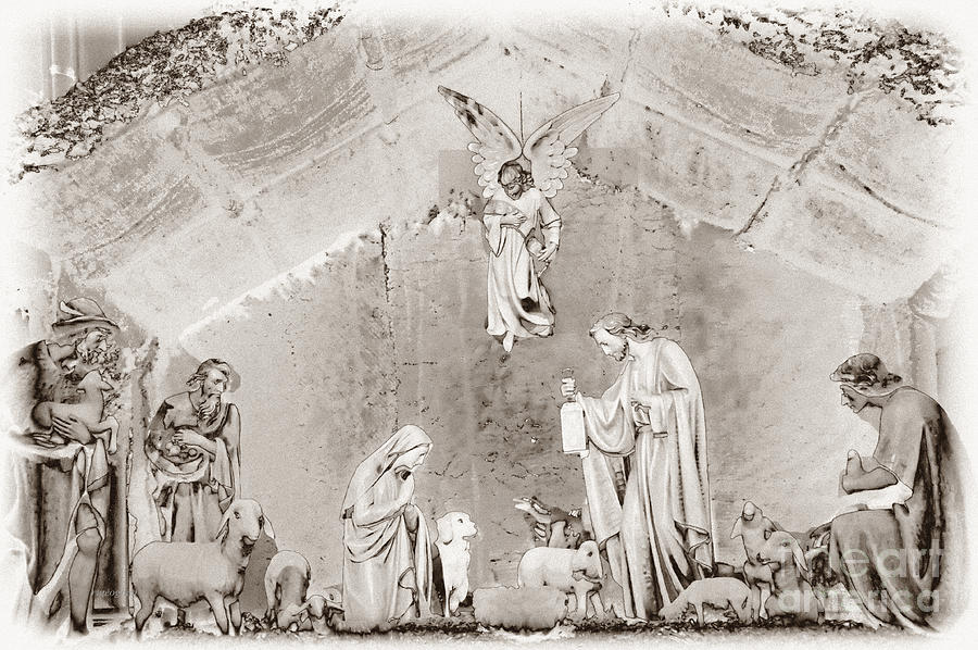 Nativity Scene Photograph - Nativity Scene In Black And White by ...