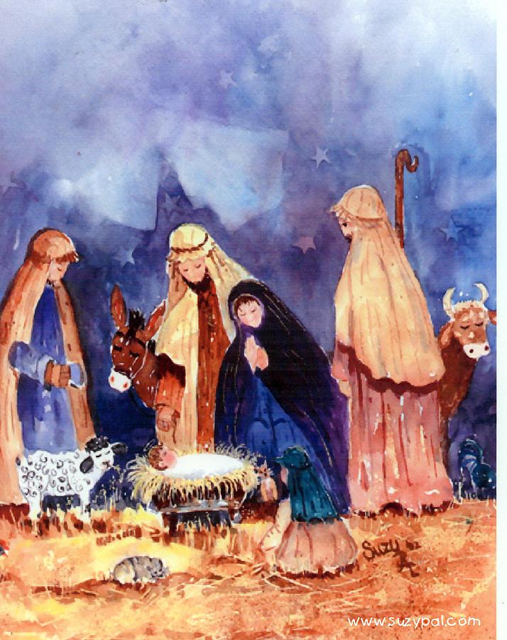 Nativity Scene Painting - Nativity by Suzy Pal Powell