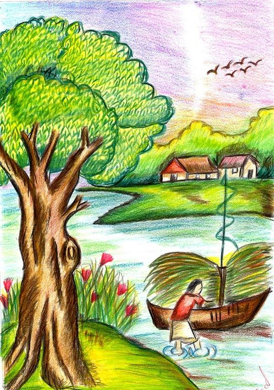 The gallery for --> Kids Drawing Of Nature Scenery