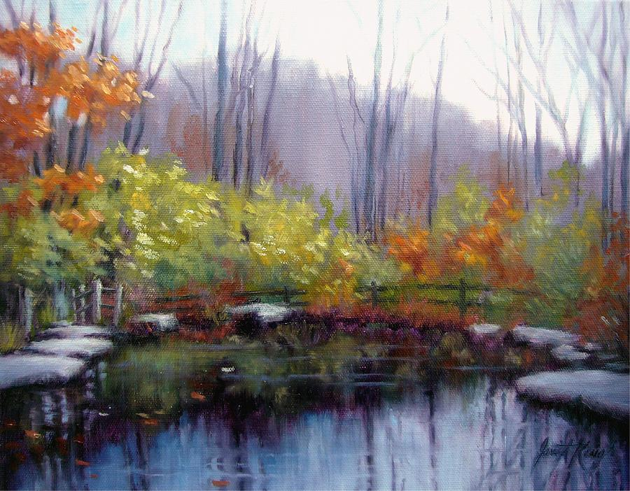 Nature Center Pond At Warner Park In Autumn Painting  - Nature Center Pond At Warner Park In Autumn Fine Art Print