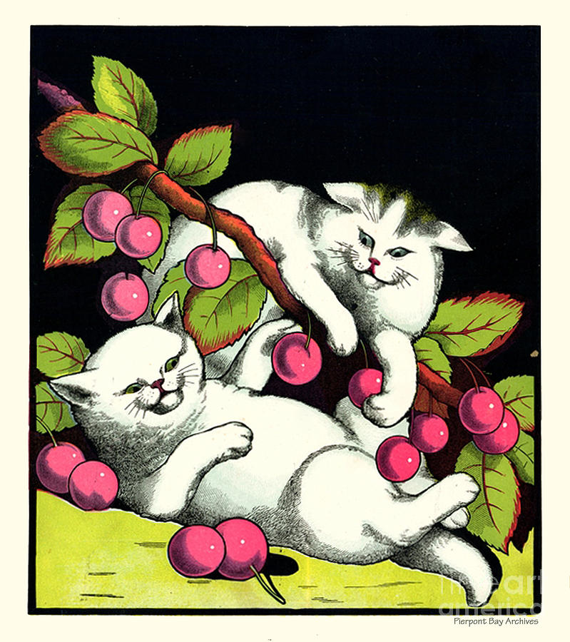 Naughty Cats Play With Cherries  Digital Art  - Naughty Cats Play With Cherries  Fine Art Print