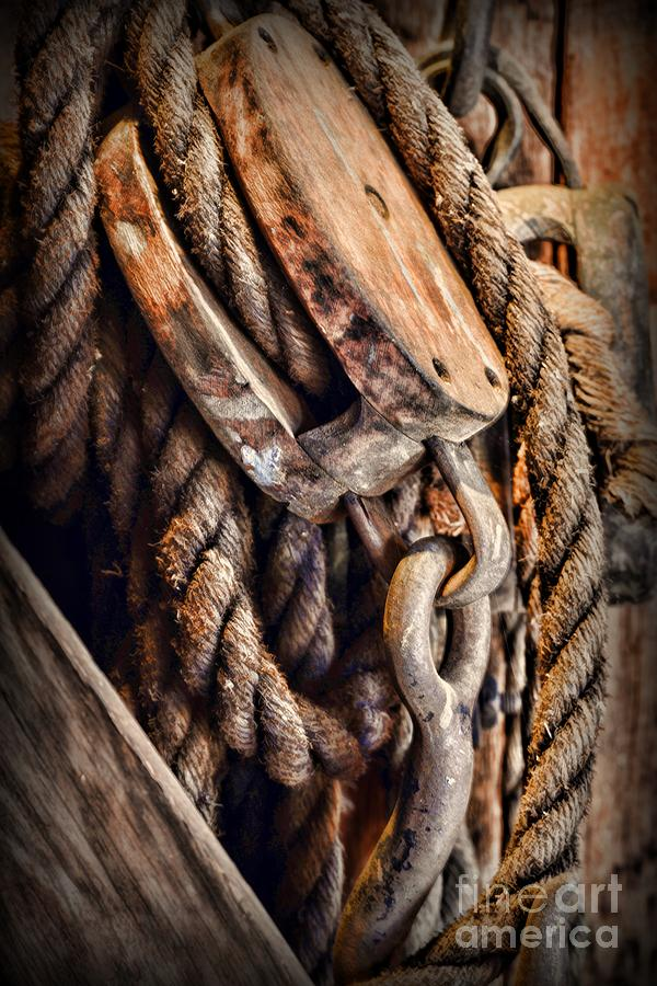 Paul ward photograph nautical boat block and tackle with rope by