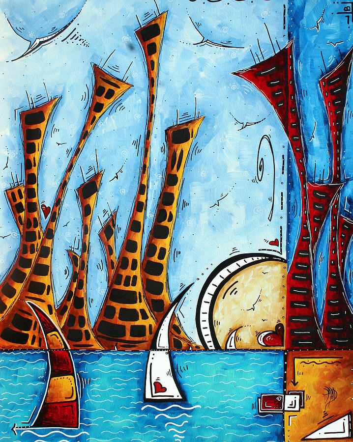 Nautical Coastal Art Original Contemporary Cityscape Painting City By The Bay By Madart Painting