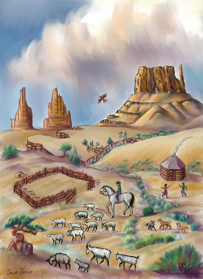 Navajo Digital Art - Navajo Sheepherder - Age 11 by Dawn Senior-Trask