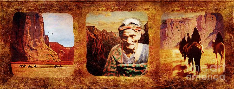 Navajo Digital Art - Navajo Triptych  by Lianne Schneider