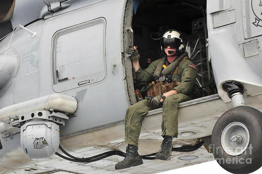 Naval Aircrewman Acts In An Sh-60b Sea Photograph