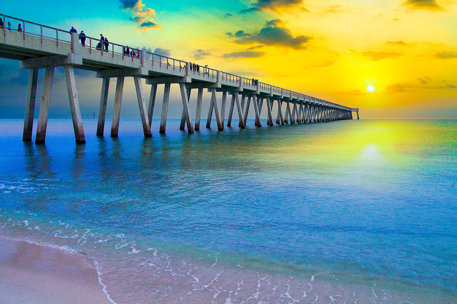 Navarre fishing pier sunset yellow sunrays sea photograph for Navarre fishing pier