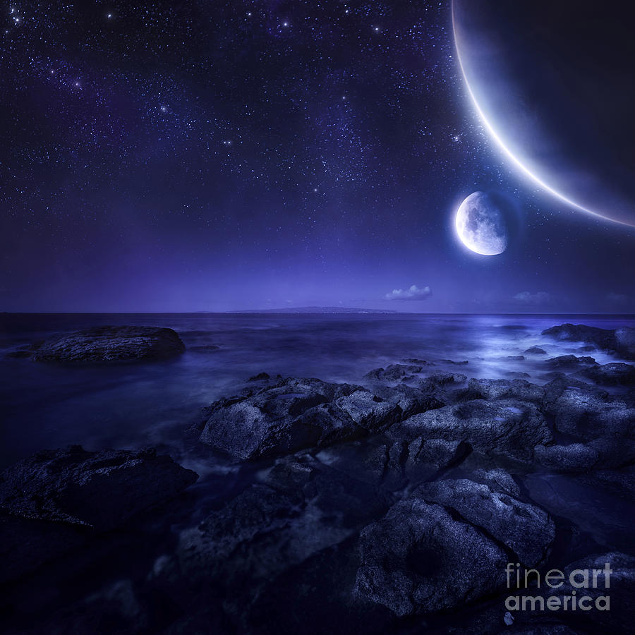 Nearby Planets Hover Over The Ocean Photograph  - Nearby Planets Hover Over The Ocean Fine Art Print