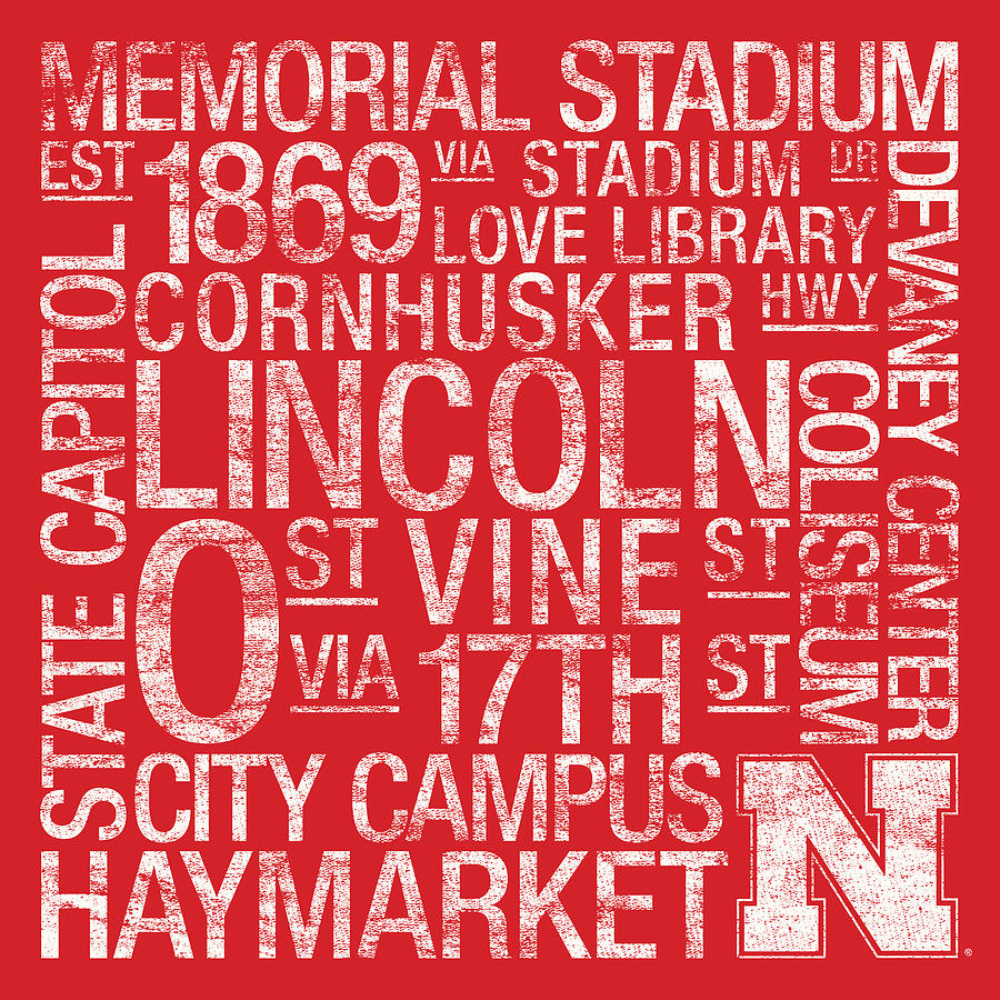 Nebraska College Colors Subway Art Photograph