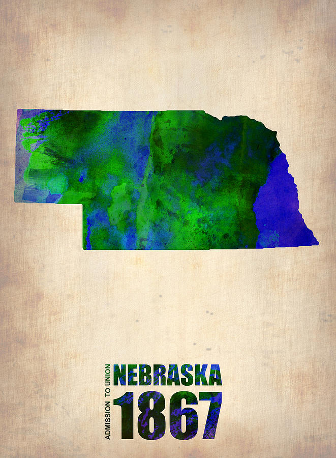 Nebraska Watercolor Map Digital Art