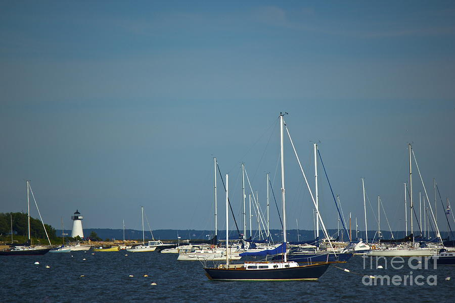 Neds Point Lighthouse With Sailboats Photograph