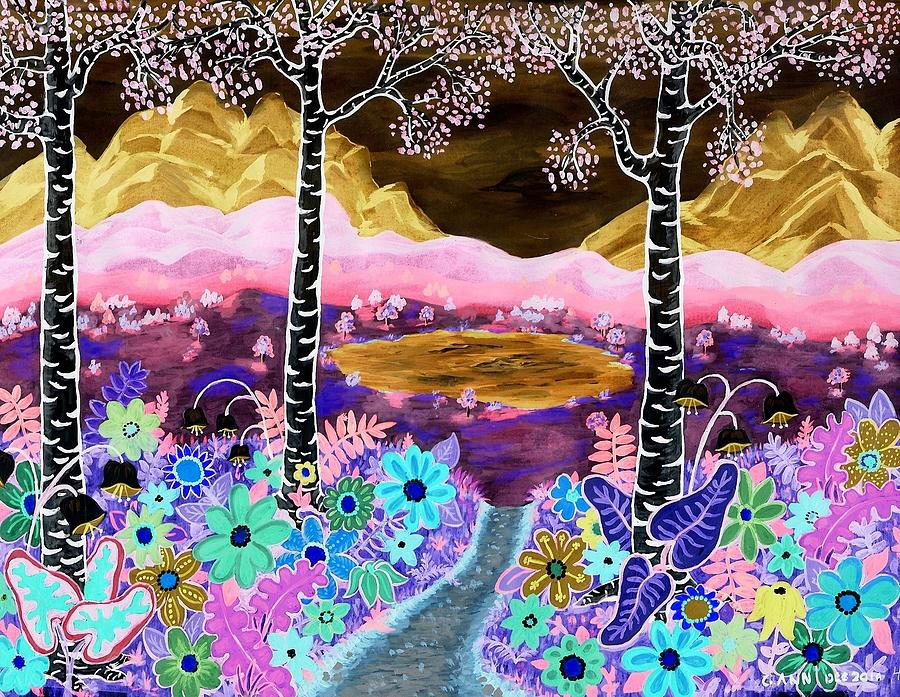 Negative-flowers-blue Mtns Mixed Media