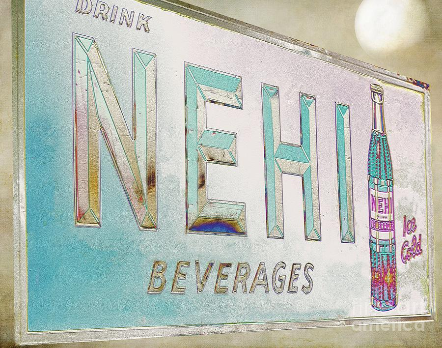 Nehi Ice Cold Beverages Sign Painting - Nehi Ice Cold Beverages Sign by Liane Wright