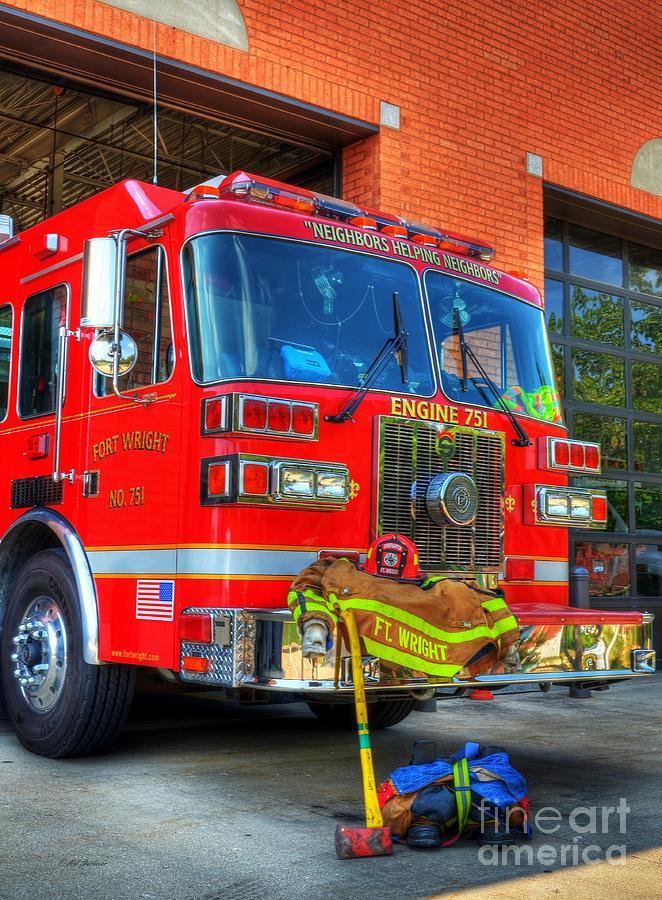 Fire Trucks Photograph - Neighbors Helping Neighbors by Mel Steinhauer