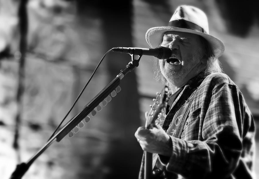 Neil Young Performing At Farm Aid In Black And White Photograph