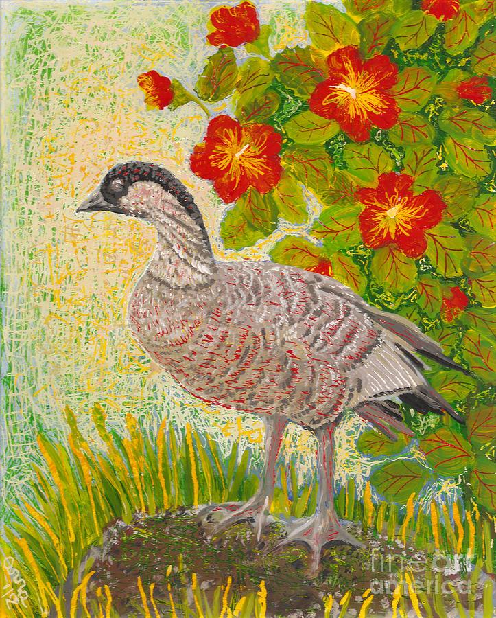 Hawaiian Birds Painting - Nene by Anna Skaradzinska