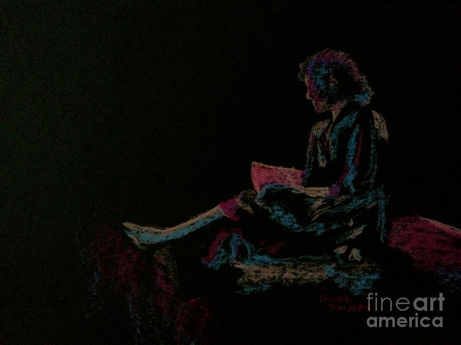 Neon Girl With Book Pastel