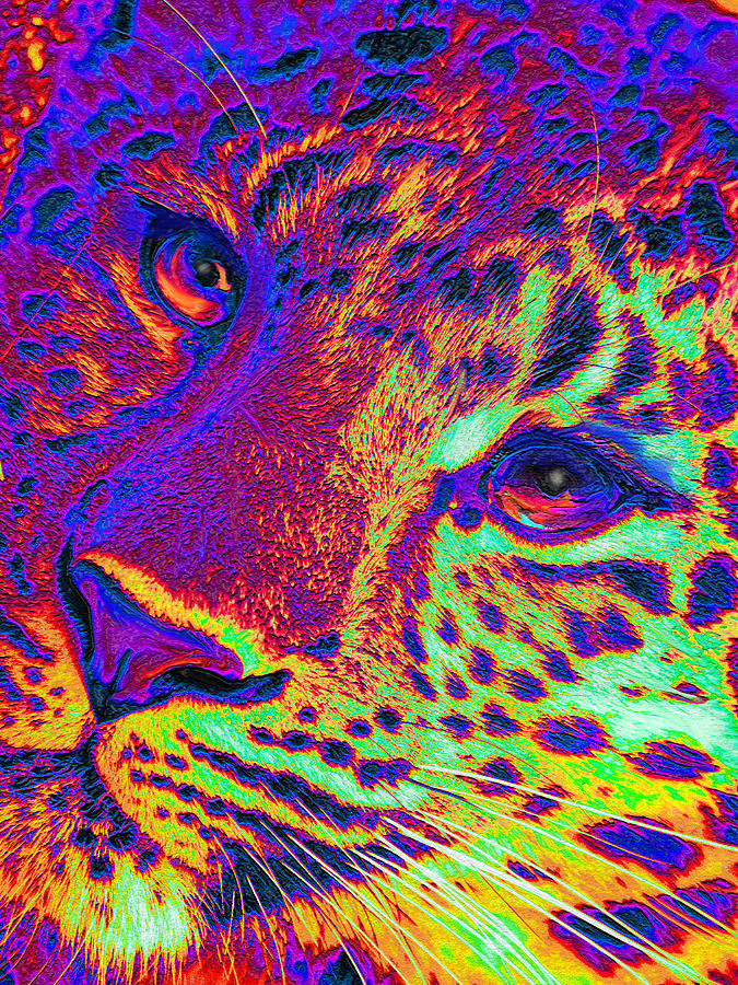 Neon Leopard Digital Art