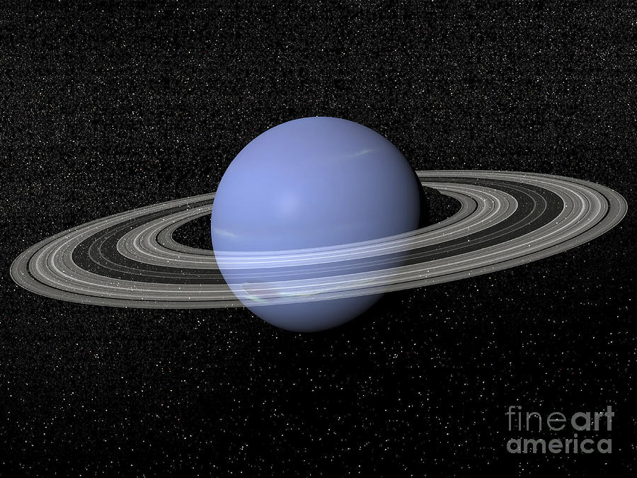 Neptune And Its Rings Against A Starry Digital Art
