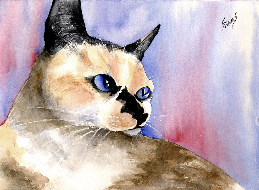 Cat Painting - Nessa by Sam Sidders