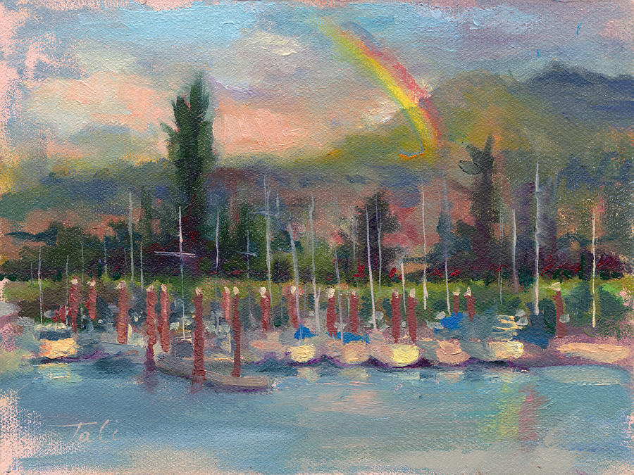 New Covenant - Rainbow Over Marina Painting  - New Covenant - Rainbow Over Marina Fine Art Print