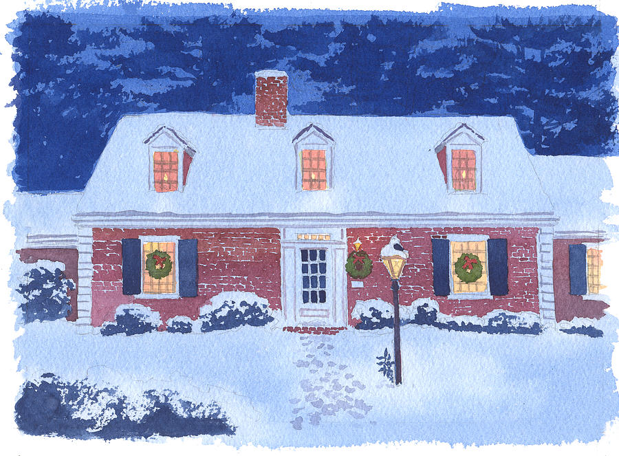 Christmas Painting - New England Christmas by Mary Helmreich
