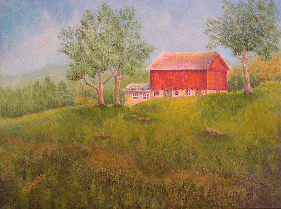 New England Red Barn At Sunrise Painting