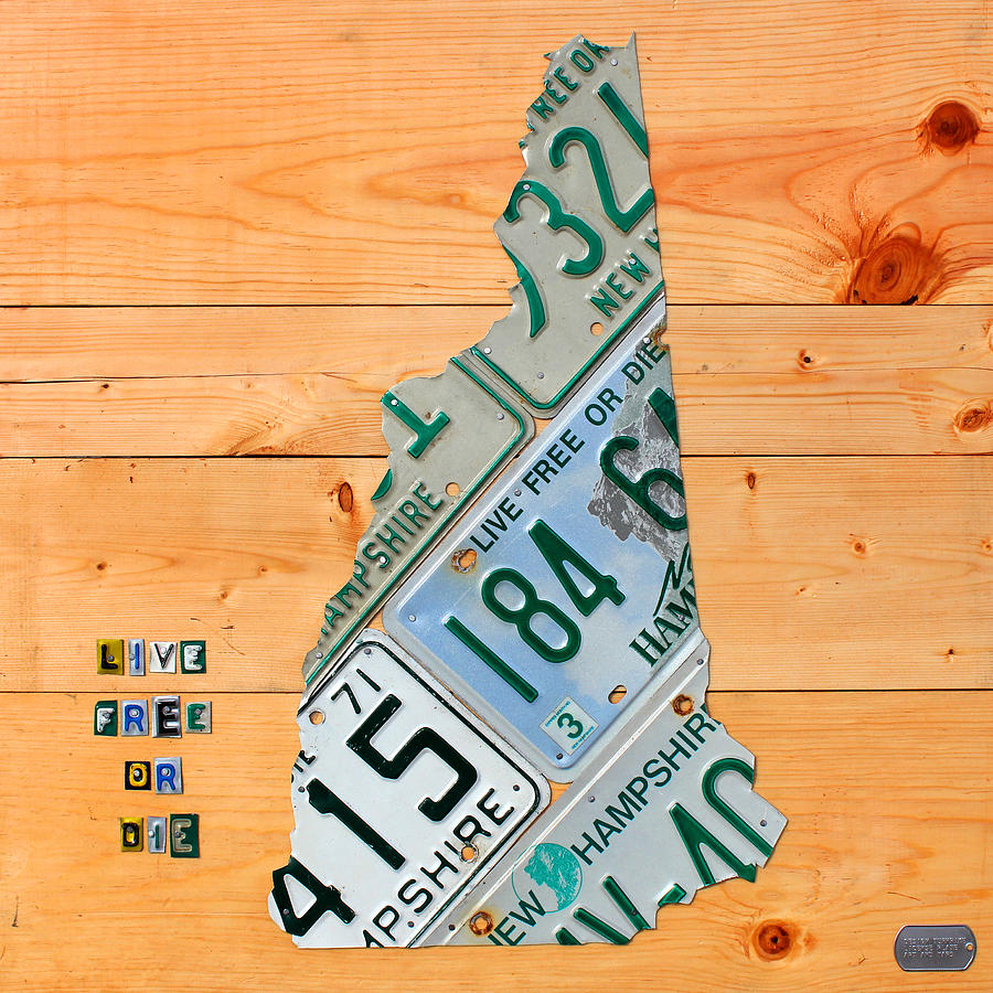 New Hampshire License Plate Map Live Free Or Die Old Man Of The Mountain Mixed Media  - New Hampshire License Plate Map Live Free Or Die Old Man Of The Mountain Fine Art Print