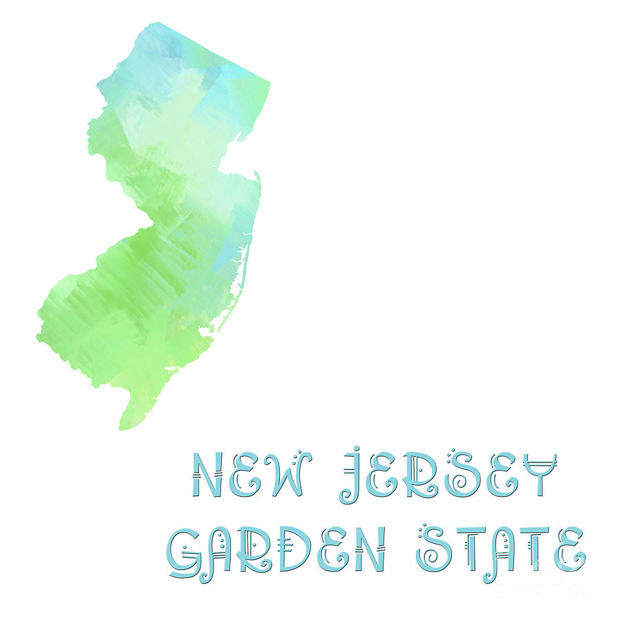 New Jersey - Garden State - Map - State Phrase - Geology Digital Art  - New Jersey - Garden State - Map - State Phrase - Geology Fine Art Print