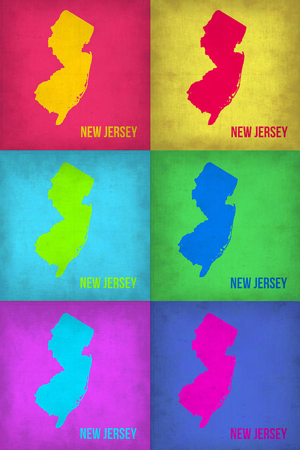 New Jersey Pop Art Map 1 Painting