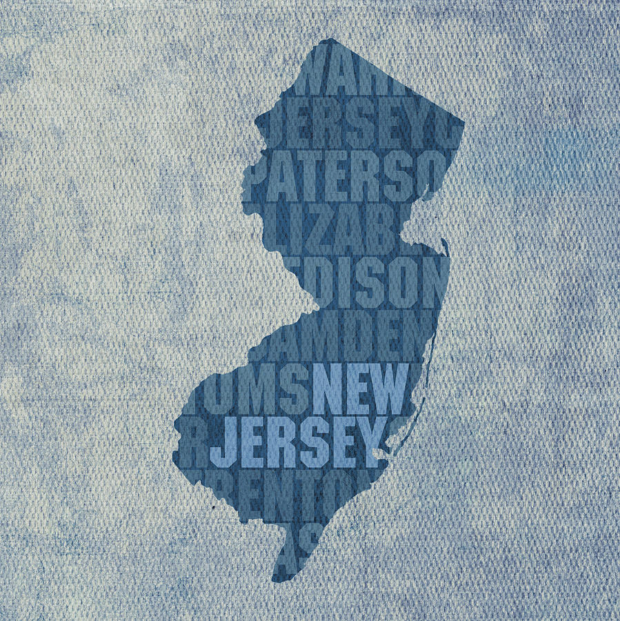 New Jersey Word Art State Map On Canvas Mixed Media By