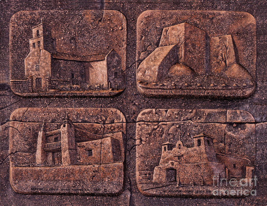 Churches Relief - New Mexico Churches by Ricardo Chavez-Mendez