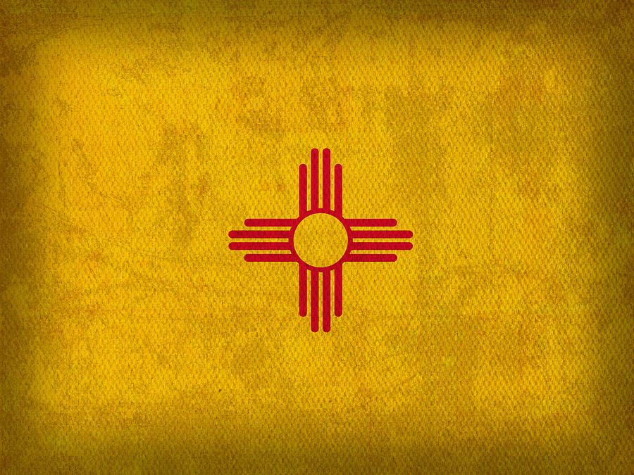 New Mexico State Flag Art On Worn Canvas Mixed Media - New Mexico State Flag Art On Worn Canvas by Design Turnpike
