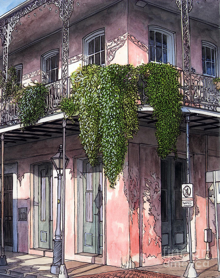 New Orleans Balcony Painting  - New Orleans Balcony Fine Art Print