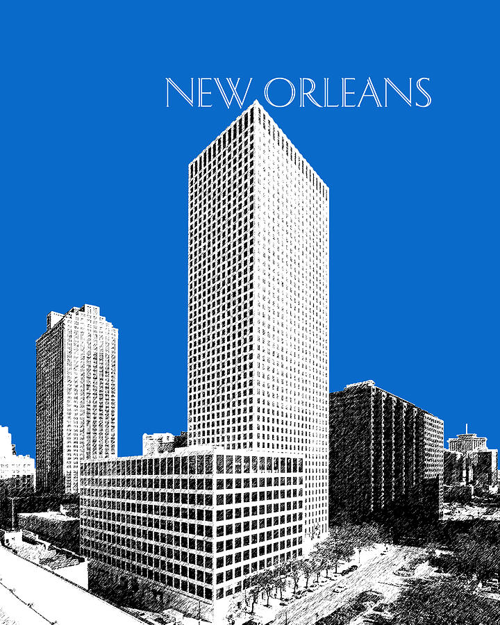 New Orleans Skyline - Blue Digital Art