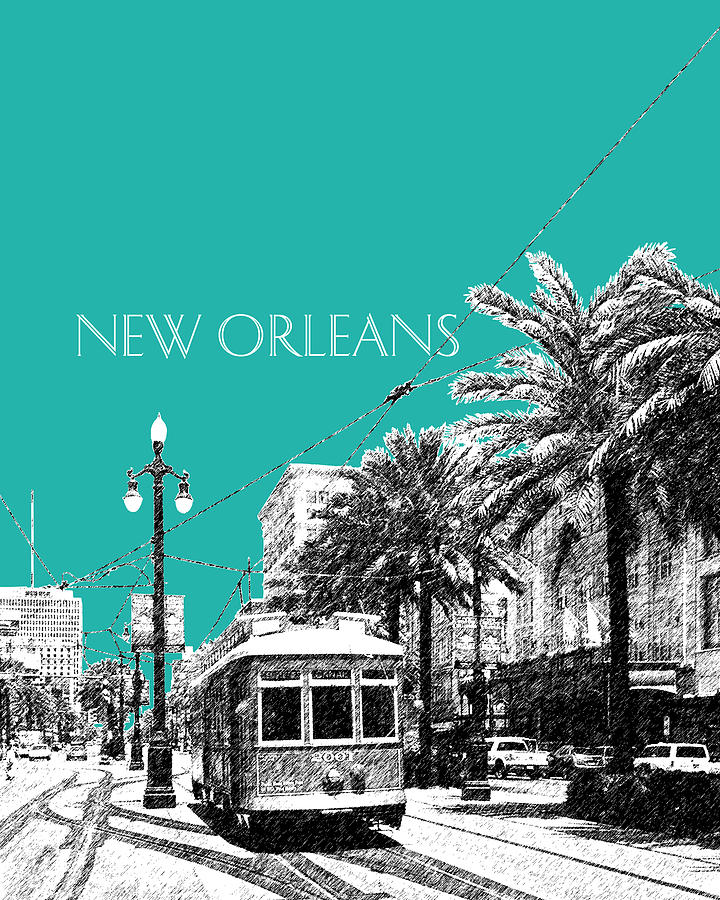 New Orleans Skyline Street Car - Teal Digital Art