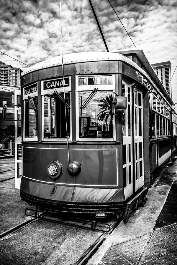 New Orleans Streetcar Black And White Picture Photograph