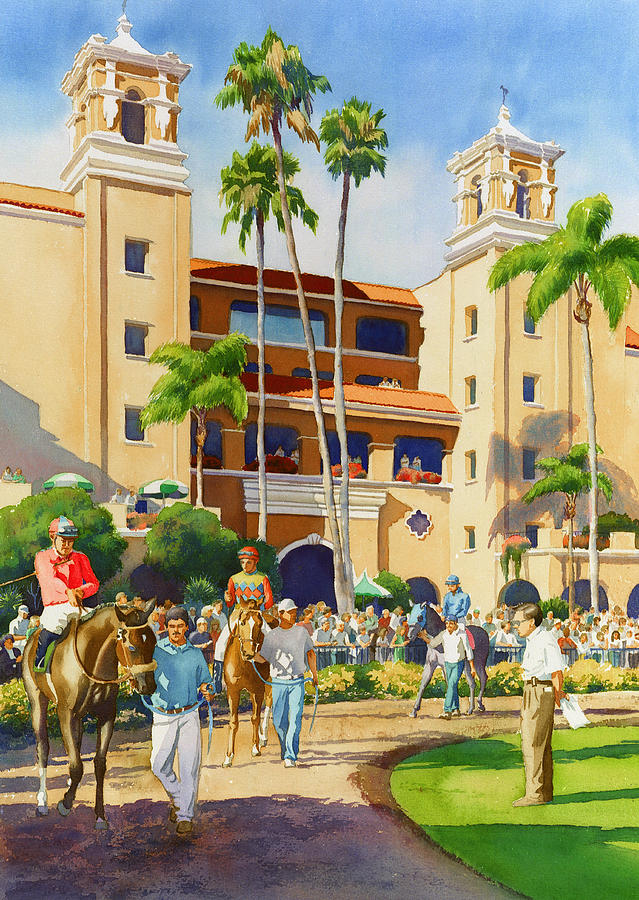 Paddock Painting - New Paddock At Del Mar by Mary Helmreich