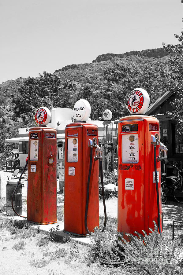 Americana three vintage gas pumps photograph by toula for Large photographic prints for sale