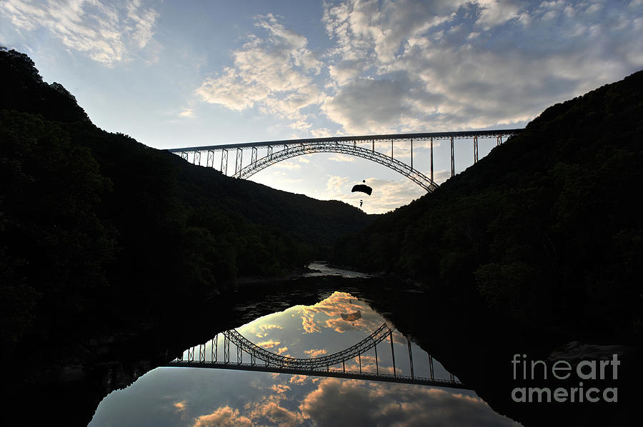 New River Bridge Photograph - New River Bridge -  Base Jumper by Dan Friend