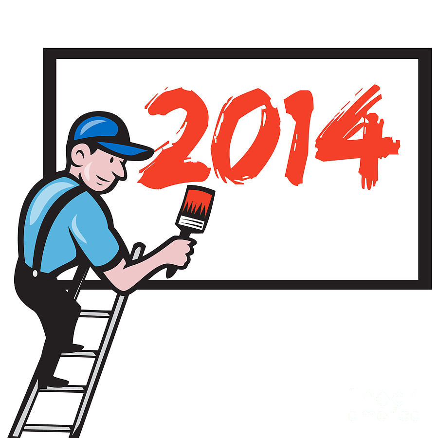 2014 Digital Art - New Year 2014 Painter Painting Billboard by Aloysius Patrimonio