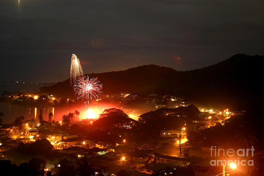 New Year Eve Kaneohe Bay Hawaii Photograph