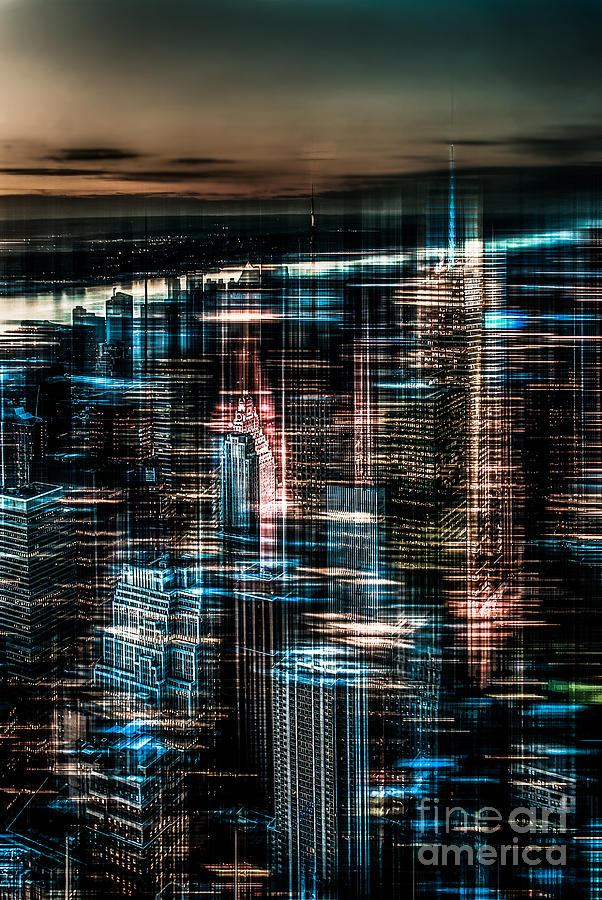 Nyc Photograph - New York - The Night Awakes - Dark by Hannes Cmarits