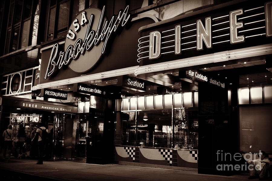 New York At Night - Brooklyn Diner - Sepia Photograph