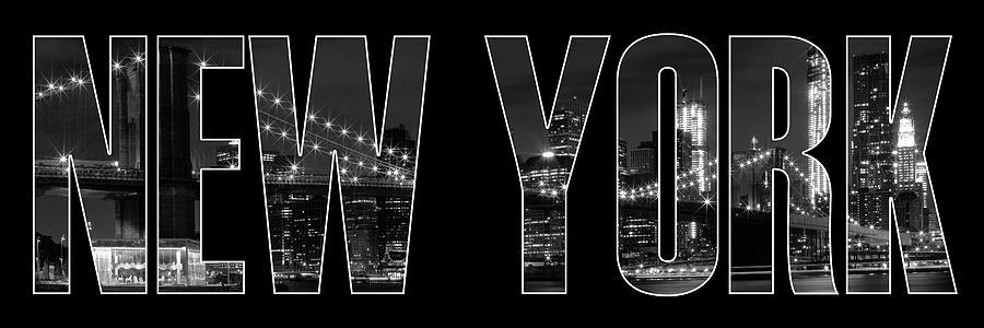 New York City Brooklyn Bridge Bw Photograph